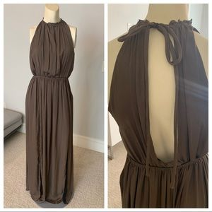 ZARA Open back halter brown neck maxi dress medium